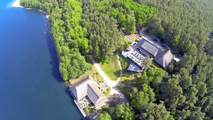 Bird's eye view of our boathouse and the hotel